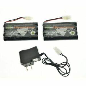 2PCS Ni-cd 9.6v 3000mAh Rechargeable Battery + Main Charger US Plug Adapter