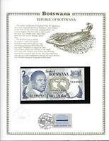 Botswana 2 Pula 1982 P 7b UNC  w/FDI UN FLAG STAMP Prefix B/10 sign. 4