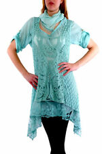 Cotton Blend Short Sleeve Tunic Tops & Blouses for Women