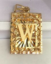 "18k Solid Yellow Gold Letter Initial ""W"" Rectangle Charm Pendant, 6.33Grams"