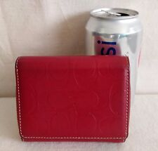 COACH Wallet Embossed Red Leather Bifold Zip Around