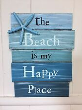 BLUE STARFISH THE BEACH IS MY HAPPY PLACE Wooden Beach House Decor Sign