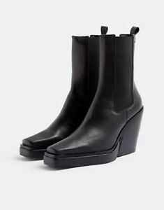 TOPSHOP HERO Boots Black Leather Square Toe Western Chelsea UK 5 6 7 very rare!
