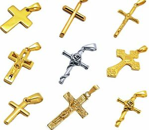 Gold Cross Pendant 18k Yellow White Solid Filled Religious Christian Crucifix