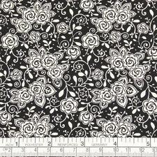 Cotton Print Fabric FQ - Cream Rose Flower on Black Dress Quilting Patchwork K13