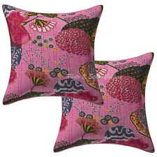 Decorative Printed Kantha Cotton Cushion Pillow Covers Baby Pink Tropicana