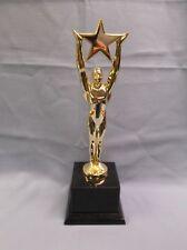 heavy weight die cast gold star achievement male trophy black marble base