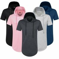 Mens Hipster Hip Hop Extended Pullover Short Sleeve Hoodies Side Zipper T Shirt