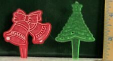 EUC Vintage BELLS & TREE Plastic CUP CAKE Decorations CHRISTMAS 2.5 & 2.75