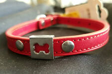 New Red Dog Collar Small Toy Dogs Bone Charm Leather Pug Maltese Yorkie Puppy