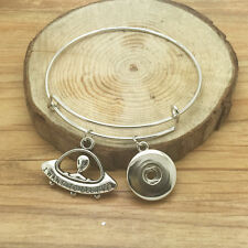 NEW DIY Spaceship Charm extendable bracelets for noosa snaps chunk button #QS07
