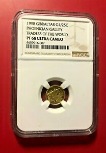 1998 GIBRALTAR PHOENICIAN GALLEY TRADERS OF THE WORLD G1/25C GOLD FINEST