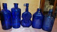 Vintage Assorted Cobalt Blue Glass Bottles. Lot of 5