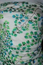 Rayon Jersey Knit Fabric Floral aqua teal combo Slubbed knit jersey 7 oz