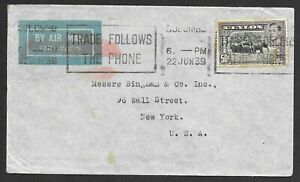 Ceylon Flight Cover to USA, Airmail Only Up to London, England, Elephants 1939