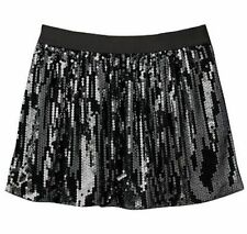 NWT BLACK SO BUBBLE HOLIDAY SEQUIN Silver elastic skirt girl sz XS/S 7 8 $32