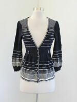 Nanette Lepore Womens Navy Blue White Striped 3/4 Sleeve Cardigan Sweater Size M