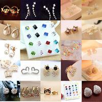 Fashion Women Elegant Crystal Rhinestone Pearl Flower Ear Stud Earrings Jewelry