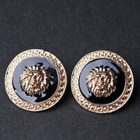 Cool Women's Punk Black And Gold Plated Carve Lion's Head Alloy Stud Earrings