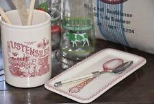 Comptoir de Famille, Löffelablage Keramik, creme mit rotem Print