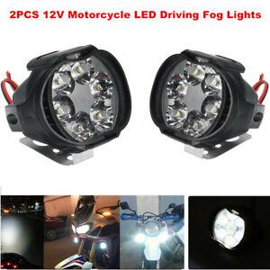 2PCS 12V Motorcycle LED Driving Fog Lights Off Road Dirt Bike Work Lights Lamp