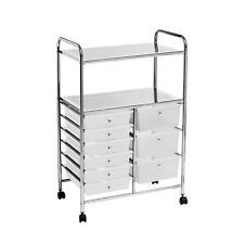 Storage Trolley 2 Shelf 9 White Plastic Drawers With Wheels Home Office New