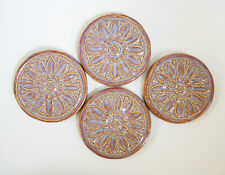 Floral Medallion Tiles Handmade Ceramic Craft / Mosaic Tiles Purple Shades 4 pcs