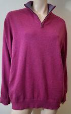 CRIMSON Pink 100% Cashmere Zipper Funnel Neckline Jumper Sweater Top XXL