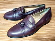 PIERRE CARDIN ESPACE MADE IN ITALY MAROON LEATHER LOAFERS TASSEL CAP TOE SHOE 12