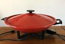 Vintage Retro 1980s West Bend Electric Wok w/ Lid & Power Cord, Red, USA, Tested