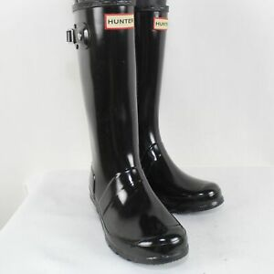 Hunter Kids Black Rubber Original Gloss Rain Boots Size 3B/4G