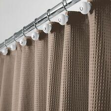 "mDesign LONG Waffle Weave Fabric Shower Curtain - 84"" Long - Taupe/Tan"