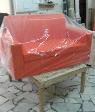 Divano due2 posti Divanetto arancione tessuto ecopelle sofà poltrona relax sedia