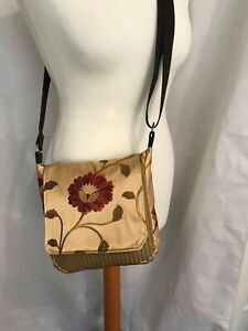 HANDMADE Small Messenger Bag Gold Floral Emboidered Fabric UNIQUE BNWT D12