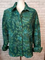 Coldwater Creek Large jacket shirt teal sequined peacock feather design