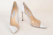 Jimmy Choo white clear 10 40 leather pvc trim point toe slip on pump shoe $725