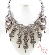Sterling Silver Vintage 925 Heavy Antique Marcasite Necklace 16'' 134.2g 745075