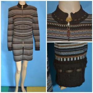 St John Knit Brown Gray Jacket L 12 10 Duster Coat Dress Leather Trims Ethnic