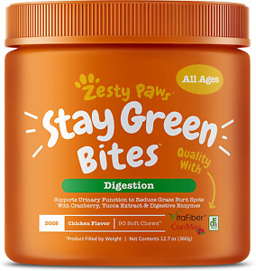 Zesty Paws Stay Green Bites for Dogs - Grass Burn Soft Chews for Lawn Spots Caus