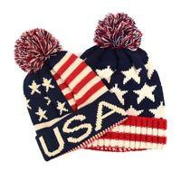 USA American Flag Cuffed Knit Pom Winter Patriotic Beanie Hat for Men Women Kids