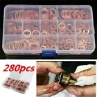 280pcs 12 Sizes Solid Copper Crush Washers Assorted Seal Flat Ring Hardware kit