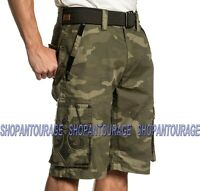 Affliction Negotiate Belt Included Mens Cargo Shorts Military Green Camo 30-42