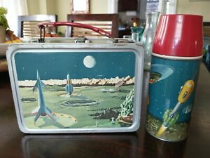 1958 Satellite Futuristic Space Lunchbox W /Thermos