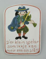 "NORWEGIAN WALL PLAQUE - MUSICIAN  6 1/4"" X 4 3/4"" CERAMIC - NORWAY 102 - PAINTED"