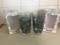 2 X BACARDI RUM ANEJO CUATRO GLASSES - BRAND NEW - PUB BAR PARTY