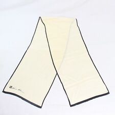 Vintage Anne Klein Cream Yellow White Long Silk Scarf 50x10