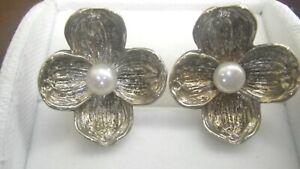 Tiffany & Co. Sterling Silver Pearl Dogwood Clip On Earrings