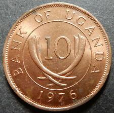 Uganda 10 Cents 1976 Very high grade KM#2a Steel Rare!