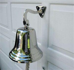 Ships Bell-Large-Aluminum- Polished Nickel Finish w/ Mount Bracket