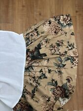 Ralph Lauren King Bedskirt Bucks County Maroon Floral Neutral Brown Beige